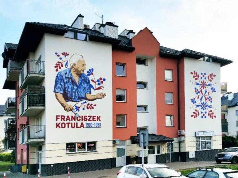 Mural na elewacji budynku mieszkalnego na osiedlu im. Franciszka Kotuli w Rzeszowie