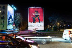 Mural reklamowy świąteczny Westfield Arkadia metro Młociny